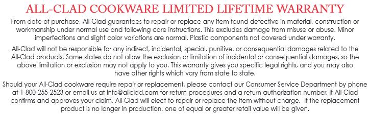 all clad warranty