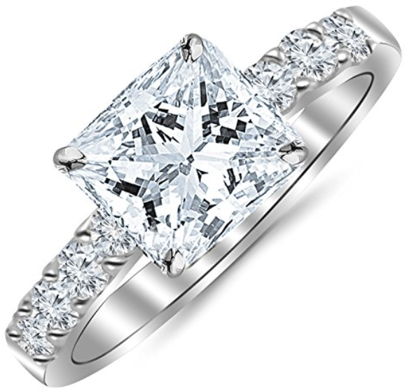 conflict free engagement rings - Princess Cut_Shape 14K White Gold