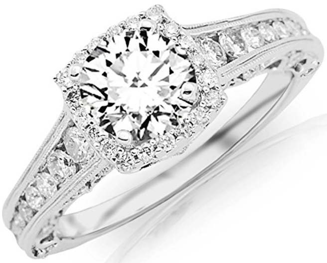 conflict free engagement rings - halo with milgrain