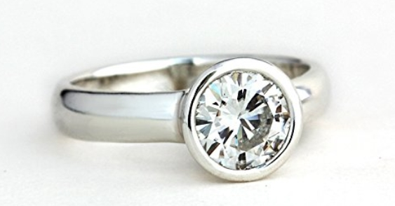 conflict-free engagement rings - Low Profile Forever Brilliant Moissanite Engagement Ring
