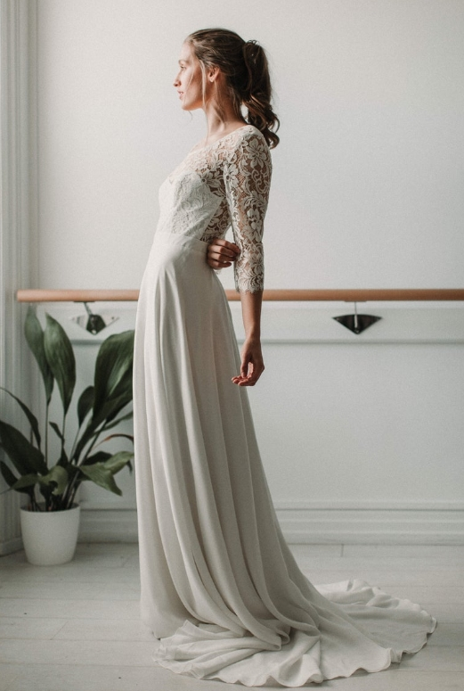Long sleeve boho wedding dress by Luna Bride on Etsy