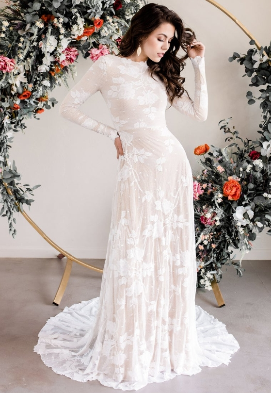Open Back Wedding Dress Long Sleeve Wedding Dress Lace Long by Wear Your Love XO on Etsy