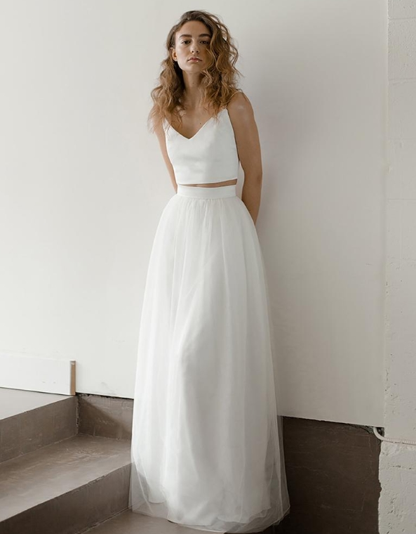 Romantic Tulle Bridal Skirt Flowy Ivory Wedding Skirt from Davie and Chiyo on Etsy