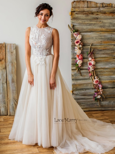 Unique Lace Wedding Dress with Flowers and Birds Beaded by Lace Marry on Etsy