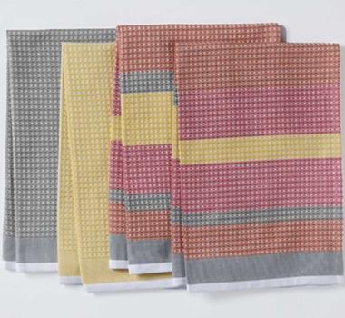 Coyuchi organic striped waffle weave kitchen towels
