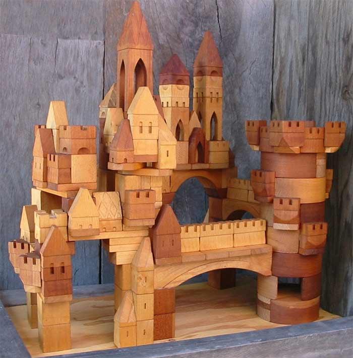 Best wooden toys for children best wooden castle blocks Village Blocksmith